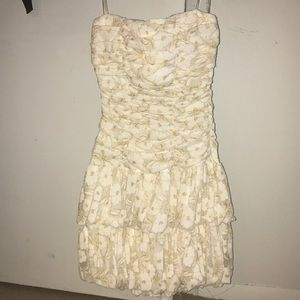 White & Gold Floral Lace Dress (S)